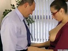 Hot brunette Paige Turnah gets banged by the boss in this nasty free porn video. After he munches her secretary's cunt, he's ready to pound it deep and hard!