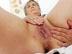 Time for this sleazy mature nurse to crack her wet fany during this wild masturbation show at work