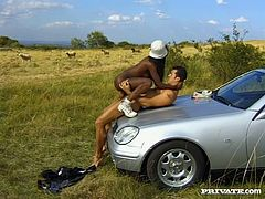 That freaky light skinned dude stopped the engine and set to anal fuck his hot African girlie in doggy and reverse cowgirl positions on green grass. Just look at that hot anal sex in Private porn clip!