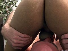 Horny bald headed guy enjoys licking feet and sucking cock of horny shemale cheerleader. Be pleased with her fake boobs and stiff dick right here and right now.