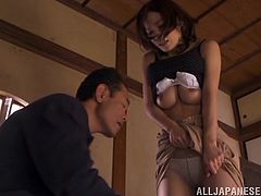 Take a look at this hardcore scene where the horny Asian babe Kaho Kasumi is nailed by this guy as you hear her moan.