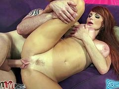 Long and sandy haired sex doll with huge fake boobies lied sideways style on sofa. Her feverish freak set to fuck her tacky pussy straight away. Watch this filthy chick in My XXX Pass sex video!