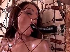 Sophie Lynx naked and oiled in a cage