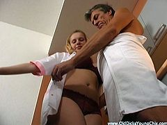 A fuckin' blonde whore with nice big tits gets her fuckin' vagina stuffed with hard cock, Hit play and check it out right here, man. It's sweet!