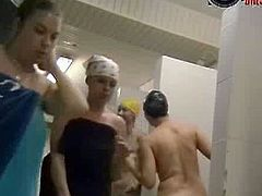 After swimming, these women go straight to the showers. They take their bathing suits off and remain naked. There is no privacy, especially with the spy cam installed.