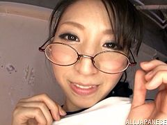 A sexy Japanese girl oils her body up and toys her wet pussy with a magic wand. Then this cutie sits down on guy's face and gets her vagina licked.
