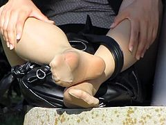 nylon soles feet at the park in tokyo