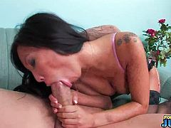 Wow look at this super Asian babe. Asa Akira stuffing her small mouth with a big hard fat cock. Later she gets fucked hard in her shaved little pussy. If you are a fan of Asian babes, you will love this video. Enjoy!