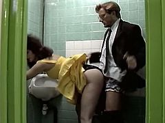 Curly and black haired filth in yellow sexy dress trailed her kinky old teacher in public restroom to suck his cock. He liked it and payed by solid doggy pose fuck. Have a look at that dirty sex in The Classic porn sex video!