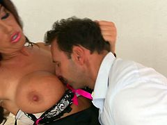 Juggy bitch seduces horny guy with her assets and spreads legs wide open. he sucks her nipples and then his tongue runs down her gorgeous body and tickles her perky clit.