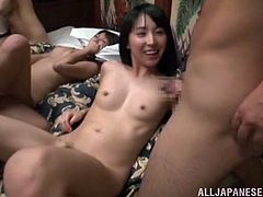Dude, even such a ravishing seductress as Satou Haruka couldn't restrain herself not to take a part in steamy orgy! Watch how many chicks got their pussies pleased by horny bastards!