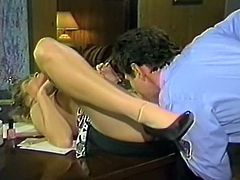 Curly haired torrid chick rested on table with legs spread apart and enjoyed getting her hot blooded pussy licked by that brutal stud in police uniform. Look at that dirty sex in The Classic Porn sex clip!