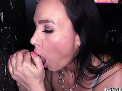 Lisa Ann loves the way man moves his worm up and down inside her twat in interracial sex action