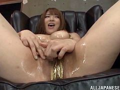 Take a look at this sassy whore as she strokes several cocks all at once. She screams and shouts while she gets all of her holes filled with dicks.