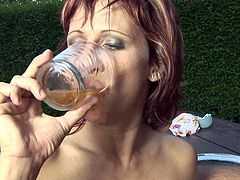 Kinky and hot red haired bitch with nice ass and sexy body gives a great blowjob on the open air. Have a look at this chick in All Porn Sites Pass xxx clip.