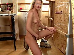 The gorgeous blonde carpenter Andrea Francis comes across a big hard cock sticking out of a gloryhole and is left with no choice but to suck it dry.
