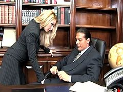 Sultry blonde secretary provides her boss with awesome blowjob