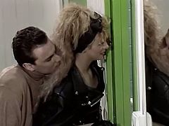 Black haired bitchy hoe got doggy fucked while her fair haired kooky in leather biker jacket sucked two staff cocks greedily.Watch that steamy fuck in The Classic Porn sex video!
