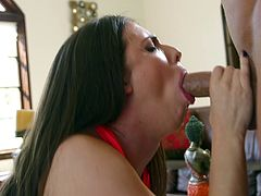 Will Powers and long-haired bombshell Casey Calvert are having a great time together. Casey kneels in front of Will and works on his wang till it explodes with cum.