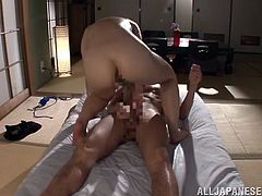 Busty dark-haired skank gets her asshole screwed doggystyle and does anal riding thick cock on top while sucking other dude's dick. Then she gets her butthole nailed mish and in a sideways pose.
