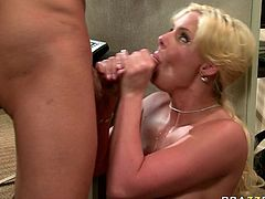Phoenix Marie is a fucking hot secretary blonde who gives deppthroat blowjob to her boss. He fucks her lustful face and makes her lick his nuts.