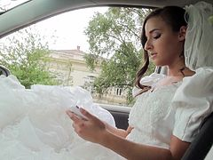 Horny bride Amirah Adara jumps inside a car with a stranger and gets her pussy rammed after giving him an amazing blowjob.