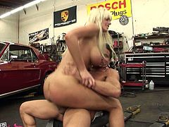 This gorgeous blonde needs her mechanic's services but she doesn't have money so she offers him sex and to make herself perfectly clear she gets down to business right away. She climbs on top of him and rides his cock in cowgirl position. Then she switches to reverse cowgirl.