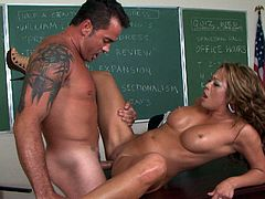 This charming college slut needs a good pussy workout and her teacher is here to pound her hard. He spreads her legs wide and fucks her tight pussy in missionary position. Then he bends her over the desk and fucks her tight snatch really hard.