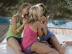You have a great chance to enjoy watching three libidinous teens for a one pass. Alluring 18 yo lesbian girls lick each others slits and suck nipples outdoor.