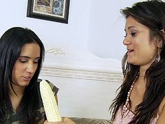 It looks like these two bodacious brunette enchantresses are too horny and they need stiff dick in their mouths! Watch how they provide hunky stud with remarkable blowjob!