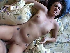 Beautiful brunette Jenna Presley pleases a guy with a perfect blowjob. Then she takes his dick in her smooth pussy and enjoys ardent doggy style sex.