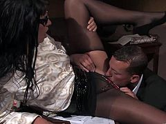Sexy secretary Simony Diamond gets horny in the office and ends up getting her pussy roughly fucked by her boss through a hole in her pantyhose.