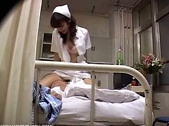 Japanese nurse rides her patient fat cock