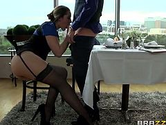 Alluring brunette Dani Daniels gets banged hard deep and hard into a massive orgasm by the horny stud Xander Corvus. She looks great in those black stockings!