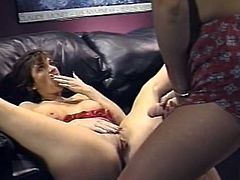 Light haired whorish chick put strapon and set to satisfy thirsting kitty of her busty brunette kooky in mish pose.Look at that hot lesbian fuck in The Classic Porn sex video!