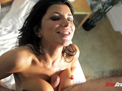 Go wild as you watch this long haired brunette, with big fake boobs wearing panties, while she goes hardcore with a naughty guy and serves a titjob.