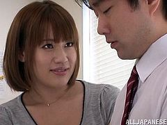 A Japanese teacher plays with her pussy and and gives a blowjob to a student. After that she lies down on a bed and gets fucked. Rina also gets her face cum covered.