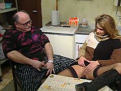 Fuck starving obese granny in glasses sits on chair in kitchen and shows off his staff cock.That bitchy fair haired wench spread her legs apart and showed him her sweet vagina..Look at that mind blowing guys in The Classic Porn sex clip!
