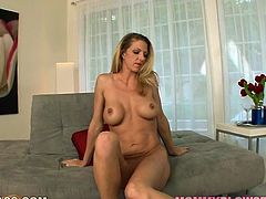 Big breasted blonde echantress Roxanne Gakk knows how to put on an awesome show for her lover. She masturbates in front of him. Then she sucks his stiff dick like a true cock sucker!