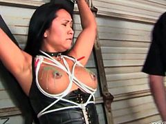 Voracious raven-haired slut stands near the wall with gag-ball in her mouth and dude ties her up. Then kinky master pours hot wax on her big natural boobs.