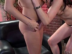 Sensual brunette babe sucks nipples and play with peachy tits of her lesbian girlfriend. Then she inserts her playful fingers in her juicy slit and fucks her from behind.