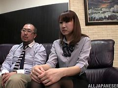 Make sure you watch this hot scene where the horny Asian babe Minami Hirahar is eaten out by one of her coworkers before sucking on his hard cock.
