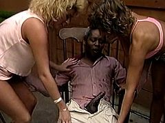 Be pleased with exciting sex movie produced by The Classic Porn site. Two lusty chicks gives good tug job to one kinky black dude.