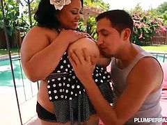 Watch this Sexy Busty Black BBW Vicki Black in Her First Hardcore Scene. She gets busted by a big hard cock up her lovely big shaved pussy. Checkout how her boobs dance up and down, while she enjoys a good fucking. Enjoy!