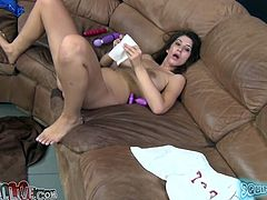 This voracious dark haired hoe with big tits bought a couple of huge dildos to play with her pussy. So for now she rested on sofa with her legs spread apart and tickled her hungry vagina. Look at this filthy chick in My XXX Pass porn clip!