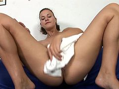 You will definitely pop a big boner as you watch this gorgeous brunette shave her beautiful pussy with her legs wide open.