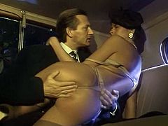 Stacked black haired sweetie in hat gets her hot pussy hammered in cowgirl position by her mature stud on back seat of eh car. Watch that shameless chick in The Classic Porn sex video!