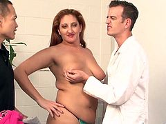 Big-assed skank Sonia Blaze, wearing jeans, is having fun with two men indoors. She sucks and rides one of the men's weiners and lets the other guy lick her feet.