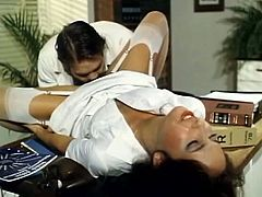 Seductive nurse in white stockings gives blowjob and gets fucked