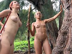 Press play to watch these lesbian babes, with natural boobs a and shaved pussies, while they kiss each other and masturbate outdoors.